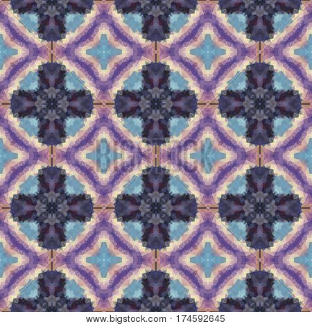 mosaic kaleidoscope seamless pattern texture background with crosses and rings - blue and purple colored
