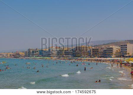 Rethymno, Greece - August  1, 2016:  Central Beach.