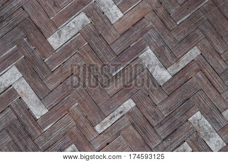 Closeup To Herringbone Pattern Of Weaving Rattan Background