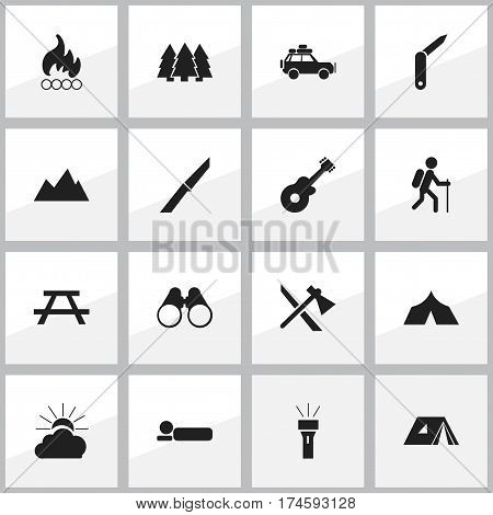 Set Of 16 Editable Travel Icons. Includes Symbols Such As Clasp-Knife, Voyage Car, Tomahawk And More. Can Be Used For Web, Mobile, UI And Infographic Design.
