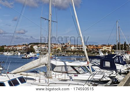 MEDULIN, CROATIA - MARCH 3, 2017: Detail of Medulin Croatian touristic place in early spring on March 3 2017