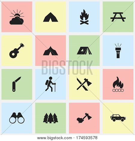 Set Of 16 Editable Trip Icons. Includes Symbols Such As Sport Vehicle, Refuge, Sunrise And More. Can Be Used For Web, Mobile, UI And Infographic Design.