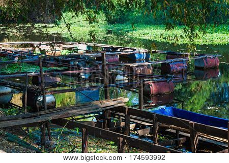 Closeup to Fishery in Countryside of Thailand