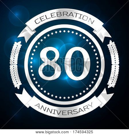 Eighty years anniversary celebration with silver ring and ribbon on blue background. Vector illustration