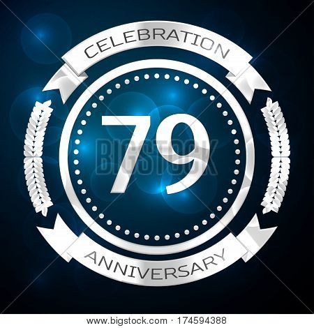 Seventy nine years anniversary celebration with silver ring and ribbon on blue background. Vector illustration