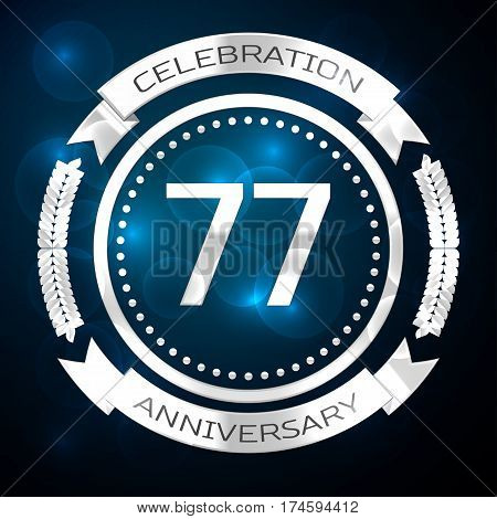 Seventy seven years anniversary celebration with silver ring and ribbon on blue background. Vector illustration