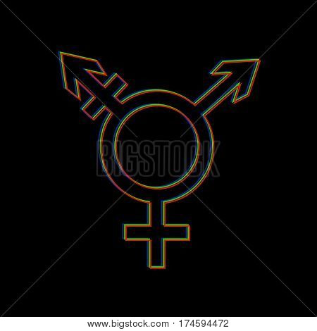 Vector icon of trans gender symbol on black background.