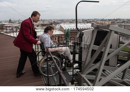 Ramp For Lifting On A Specially Made For Wheelchair Users Viewing The Tourist Area