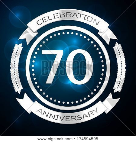 Seventy years anniversary celebration with silver ring and ribbon on blue background. Vector illustration