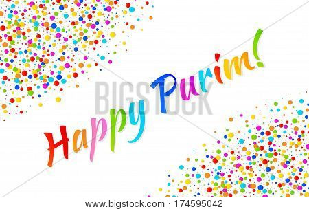 Vector Bright Horizontal Card Happy Purim carnival text with colorful rainbow colors paper confetti frame isolated on white background. Birthday template. Purim Jewish holiday.