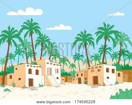 Desert village with palm trees in oasis
