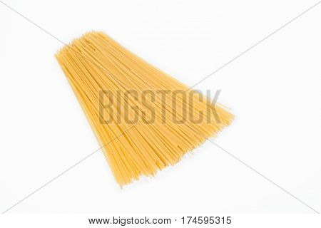 Small group of spaghetti isolated on white background