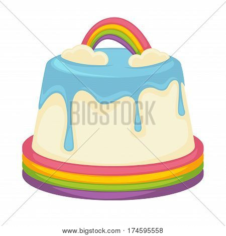 Pudding cake or pie tart with milky white chocolate glaze and rainbow caramel topping. Vector template icon for birthday, pastry or patisserie and cafeteria