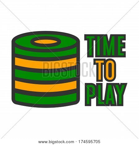 Casino poker logo template. Gambling bet chips stack for time to play vector isolated icon