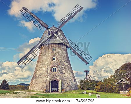 Old windmill at sunny summer day, Europe