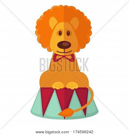 Circus trained lion performing on stage vector isolated cartoon animal flat icon
