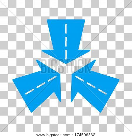 Merge Directions icon. Vector illustration style is flat iconic symbol, blue color, transparent background. Designed for web and software interfaces.