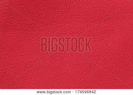 Red paint genuine leather background or texture. For background , backdrop, substrate, composition use. With place for your text