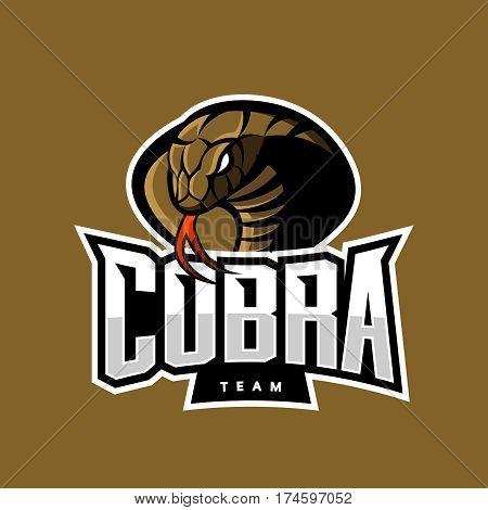 Furious cobra sport vector logo concept isolated on khaki background. Military professional team emblem design. Premium quality wild snake t-shirt tee print illustration.