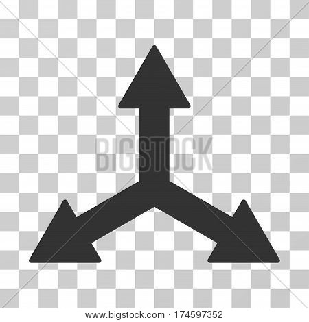 Triple Arrows icon. Vector illustration style is flat iconic symbol, gray color, transparent background. Designed for web and software interfaces.