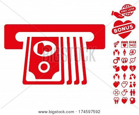 ATM Insert Cash pictograph with bonus marriage graphic icons. Vector illustration style is flat iconic symbols on white background.