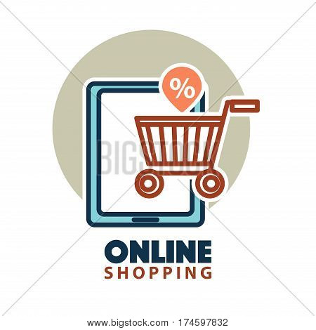 Online shopping logo template. Web store element design of shop cart and internet tablet with percent discount sign. Vector isolated icon