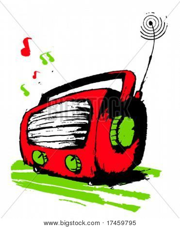 Red radio plays music.