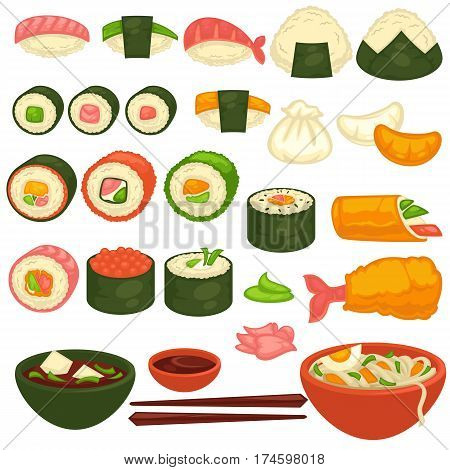 Sushi rolls icons template for Japanese cuisine restaurant menu design elements. Salmon maki and tuna nigiri in nori seaweed, steamed rice dumplings, miso soup and udon noodles. Vector isolated set