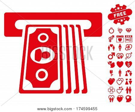 Cashpoint Terminal pictograph with bonus passion graphic icons. Vector illustration style is flat iconic symbols on white background.