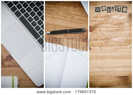 website, pc on wooden desk with blank white book