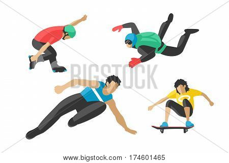 Extreme sport athletes silhouettes and extreme athletes silhouettes activity. Energy extreme sport silhouettes parkour skateboard. Vector drawing jumping and climbing men extreme athletes silhouettes.