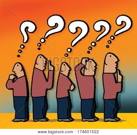 The crowd of five bald men thinking with question marks over their heads