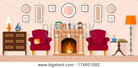 living room with furniture and fireplace. Flat style illustration. Image Interior Design.