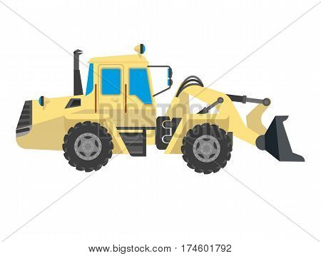 Bulldozer modern model isolated on white background. Vector crawler, continuous tracked tractor equipped with metal plate or blade used to push large quantities of material during construction