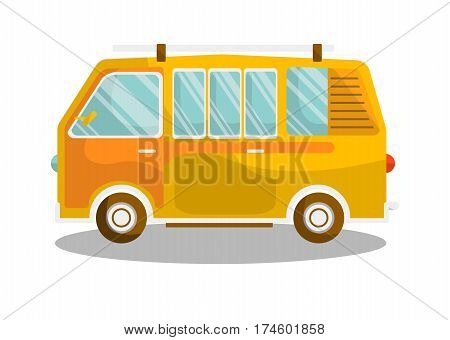 Camping yellow bus isolated on white background. Transportation item for schoolers. Vector illustration of school minibus in flat design retro cartoon style. City means of public transport