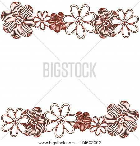 minimalistic background with flowers in row both sides vector illustration
