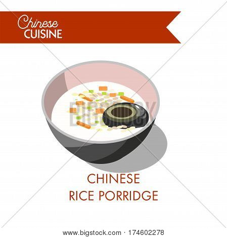 Chinese rice porridge in bowl isolated on white background. Congee gruel with seafood products on restaurant menu banner. Realistic vector illustration of oriental meal with vegetables in flat design