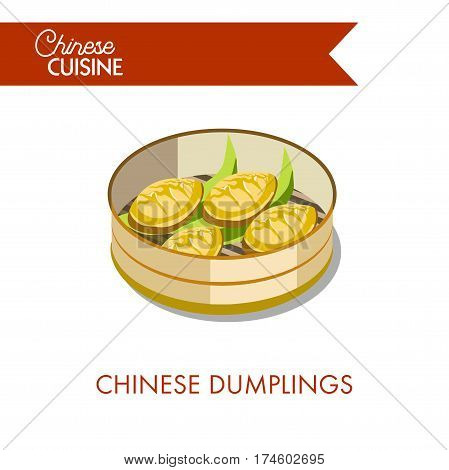 Chinese dumplings in plate isolated on white background. Traditional asian food made of dough and meat, steamed with pork or vegetable. Vector illustration of homemade oriental cooking for menu design