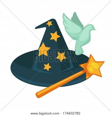 Witch hat with stars, magic wand and dove isolated on white background. Vector illustration of cartoon elements for making fairy things. Attributes for performance in circus, set of accessories