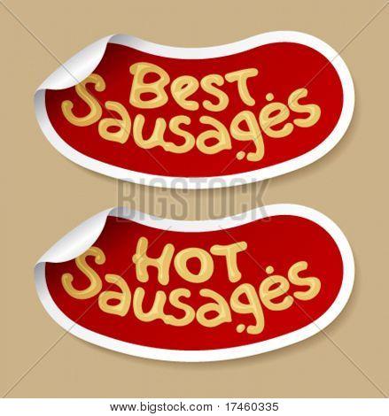 Best sausages stickers set.