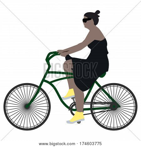 Vector illustration of a spring walk female cyclist in a black dress, yellow socks and black glasses riding a bicycle on a green on a white background, flat style.
