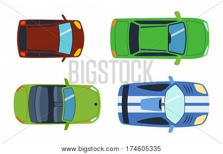 Overhead top view on colorful car toys different pickup automobile transport and collection wheel transportation design vector illustration. Traffic roof motor vehicle freight graphic.