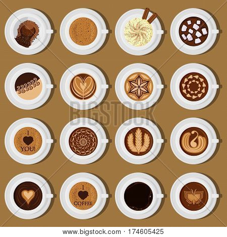 Different types of coffee, chocolate, cocoa on the blackboard. Perfect for menu assortment top view collection vector illustration.