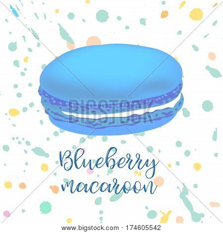 Strawberry french macaroon on background with splashes. Can be used for banner, flyer, menu, wrapping paper. Vector art image illustration.