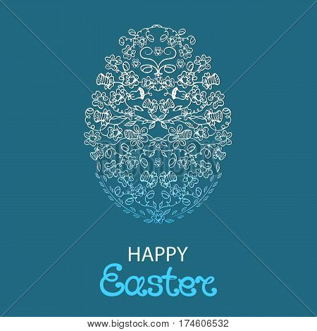 Happy Easter greeting card . Paschal egg made from flowers and herbs on a blue background.