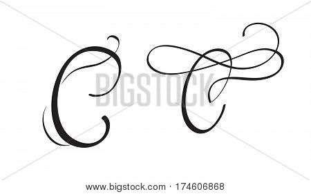 art calligraphy letter C with flourish of vintage decorative whorls. Vector illustration EPS10.