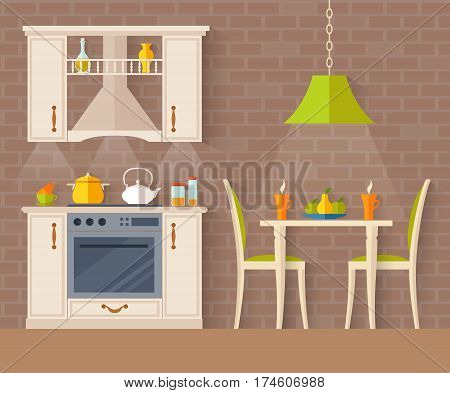 Small kitchen with dining room. Interior studio apartments. Vector illustration in flat style.
