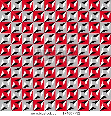 Geometric Seamless Pattern, Optical Illusion, Vector Background. Ornament From Red, Gray, White And
