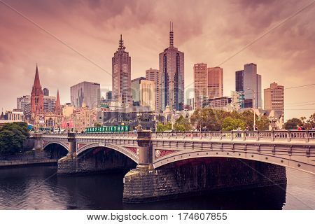 Melbourne Australia - December 27 2016: Skyscrapers in Melbourne CBD under rain Yarra Southbank Victoria