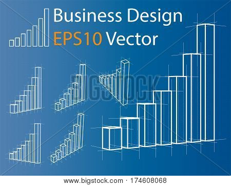 Wire-frame graphs set. 3D Rendering Vector Illustration. Business Template. Infographics